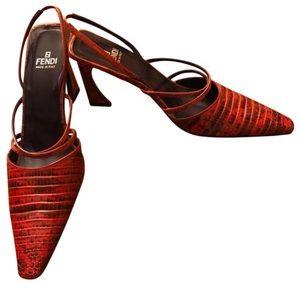 Fendi Slingback alligator heels